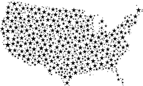 United States Map Black And White by Clipart United States Map Stars