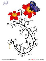butterfly and flowers tattoo design tatootos pinterest