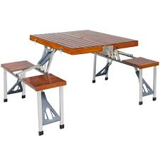 best choice products wood folding picnic table with carrying case seat