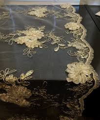 silver lace table overlay vintage wedding tablecloth white embroidered lace with silver