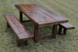 rustic outdoor dining table wood patio furniture make