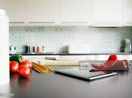 Red Kitchen Countertop - kitchen counter stock photos and pictures getty images