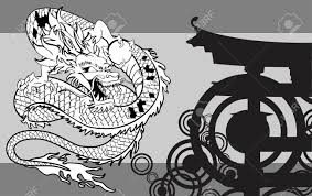 japanese dragon tattoo background in vector format very easy