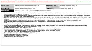 Resume For Library Assistant Job by Web Press Operator Assistant Job Title Docs