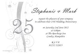 Marriage Invitation Card Quotes In English Amazing 25th Wedding Anniversary Invitations Theruntime Com