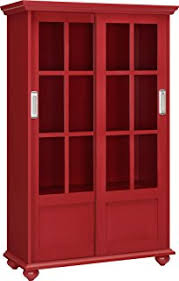 tall cabinet with glass doors amazon com threshold windham tall cabinet with drawer red