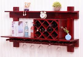 wall mounted wooden wine rack and glass holder cabinet floating