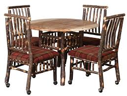 Hickory Dining Room Chairs Amish Rustic Hickory Lake And Lodge Dining Table