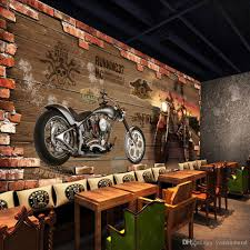 discount motorcycle wall murals 2017 motorcycle wall murals on custom photo wallpaper vintage motorcycle nostalgic brick wall background decoration wall for living room bar ktv wall murals