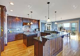 kitchen with two islands luxury kitchen with dark brown storage combination small kitchen
