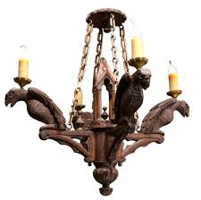 Antique Wood Chandelier Neo Gothic Carved Wood Chandelier With 4 Lights Carved Wood