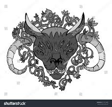 demon head tribal tattoo style isolated stock vector 311013092
