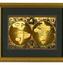Framed World Map by Framed Latin Gold Foil World Map Ebth