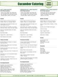 lunch buffet catering menu lunch catering menus