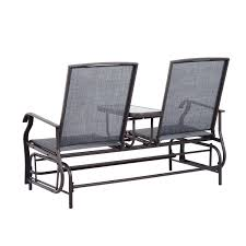 2 Person Armchair Outsunny Metal Double Swing Chair Glider Rocking Chair Seat