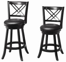 Black Swivel Bar Stool Furniture Black Leather With Back Chair Swivel Bar Stools