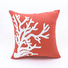amazon com coral throw pillow cover orange cotton linen square