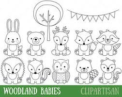 Baby Animal Clipart Etsy Woodland Animals Coloring Pages