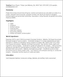 Good Accounting Resume Examples by Professional Project Accountant Templates To Showcase Your Talent