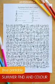 free printable summer find and colour activity color activities