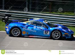 chrome ferrari chrome blue ferrari 488 challenge in action editorial photo