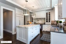 black and white kitchen with thick calacatta marble countertop