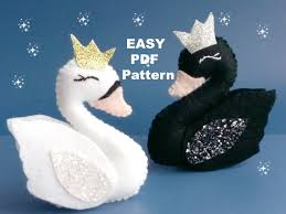 pdf pattern felt swan ornament swan sewing pattern swan