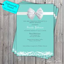 blue white bow invitation white bow bridal shower invite