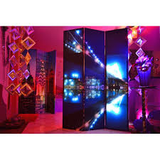 panel canvas wooden folding led room divider theme of a
