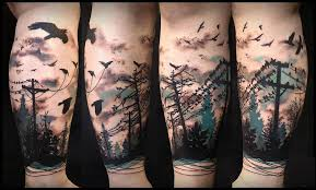 colorful cool flying birds and forest tree on leg