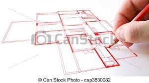 clip art of house plan drawing with red pencil on paper csp3830082