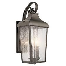 kichler under cabinet lighting 49736oz forestdale 2 light medium outdoor wall lantern in olde bronze
