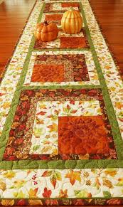 this quilted autumn table runner is wide and