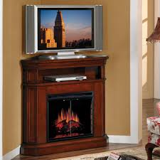 tall brown varnished mahogany wood corner tv stand with media