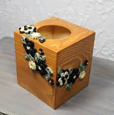 decorative tissue box square wooden tissue box decorated with quilled black and