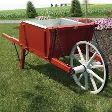 Wooden Wheelbarrow Planter by Amish Medium Size Wooden Wheelbarrow