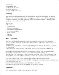 care child cover letter resume