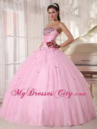 dresses for sweet 15 2013 baby pink strapless beading ruching flower sweet 15 dresses