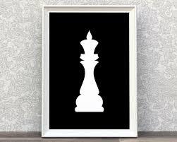 chess king king chess piece print minimalist art white