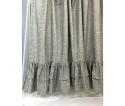 Grey Linen Curtains Chambray Grey Shower Curtain With Layer Ruffle Hem 72x72