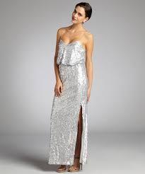 Draped Bodice Dress Aidan Mattox Matte Silver Sequin Draped Bodice Spaghetti Strap