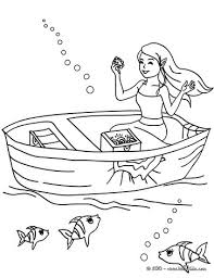 mermaid finding treasure coloring pages hellokids