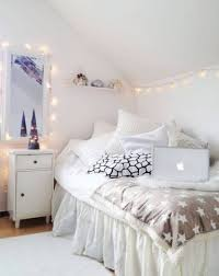 Pictures To Hang In Bedroom by White Interior Color Plus Corner Bed And String Lights Ideas Also