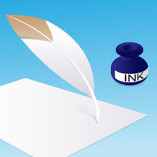 blank paper to write feather pen ink vector illustration of a feather pen about to feather pen ink vector illustration of a feather pen about to write something on