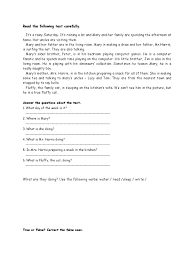 reading comprehension present continuous