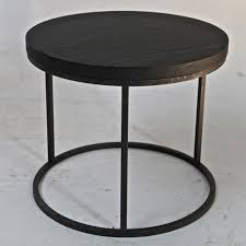 Iron Side Table Black Oak Top Side Table With Cast Iron Base Omero Home