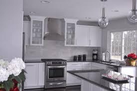 kitchen white kitchen cabinets with gray granite countertops