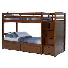 Bunk Bed With Storage Stairs Home Design Low Bunk Bed With Stairs In Countryside Bedroom