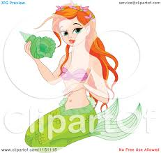royalty free vector clip art illustration of a mermaid on an