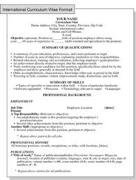 How To Do A Job Resume Format by International Curriculum Vitae Resume Format For Overseas Jobs